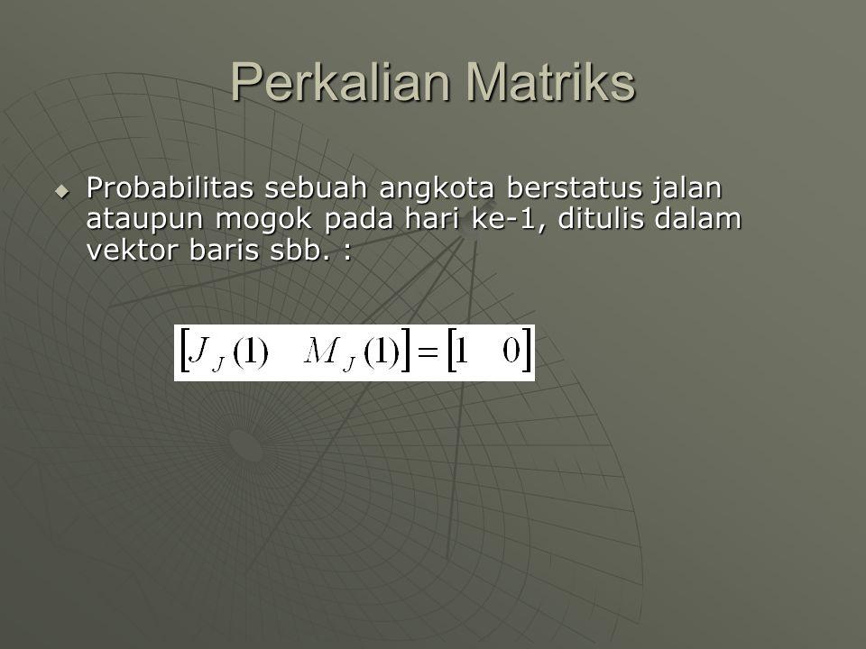 Perkalian Matriks  Probabilitas sebuah angkota berstatus jalan ataupun mogok pada hari ke-1, ditulis dalam vektor baris sbb. :