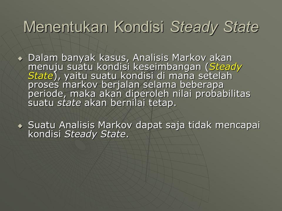 Menentukan Kondisi Steady State  Dalam banyak kasus, Analisis Markov akan menuju suatu kondisi keseimbangan (Steady State), yaitu suatu kondisi di ma
