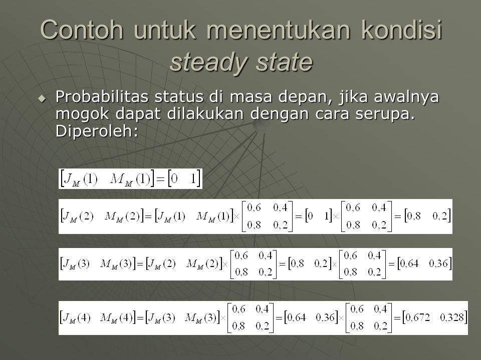 Contoh untuk menentukan kondisi steady state  Probabilitas status di masa depan, jika awalnya mogok dapat dilakukan dengan cara serupa. Diperoleh: