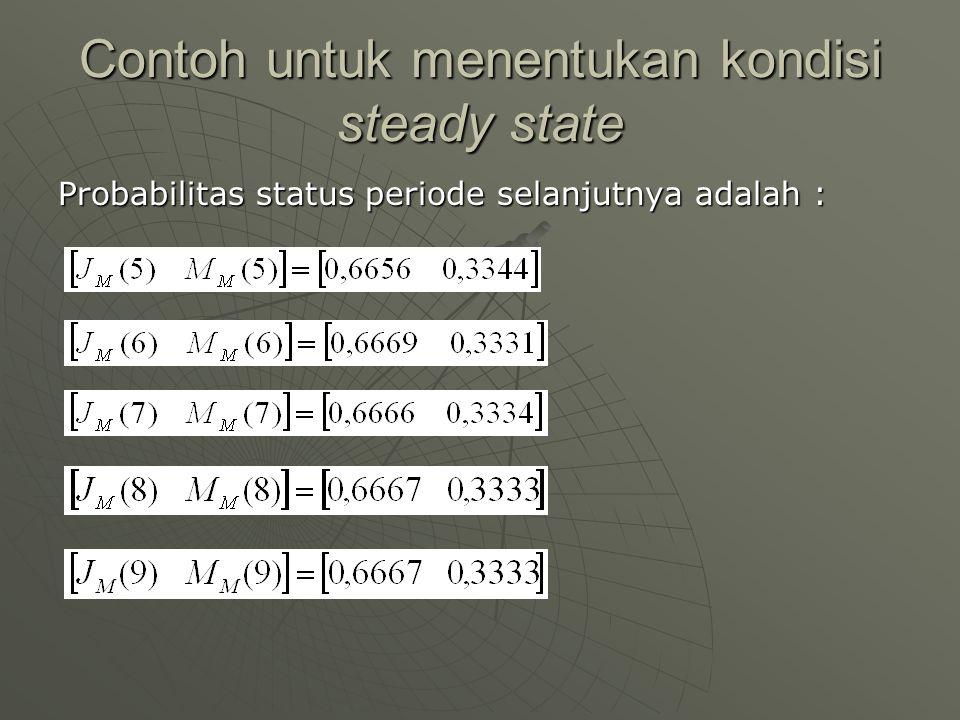 Contoh untuk menentukan kondisi steady state Probabilitas status periode selanjutnya adalah :