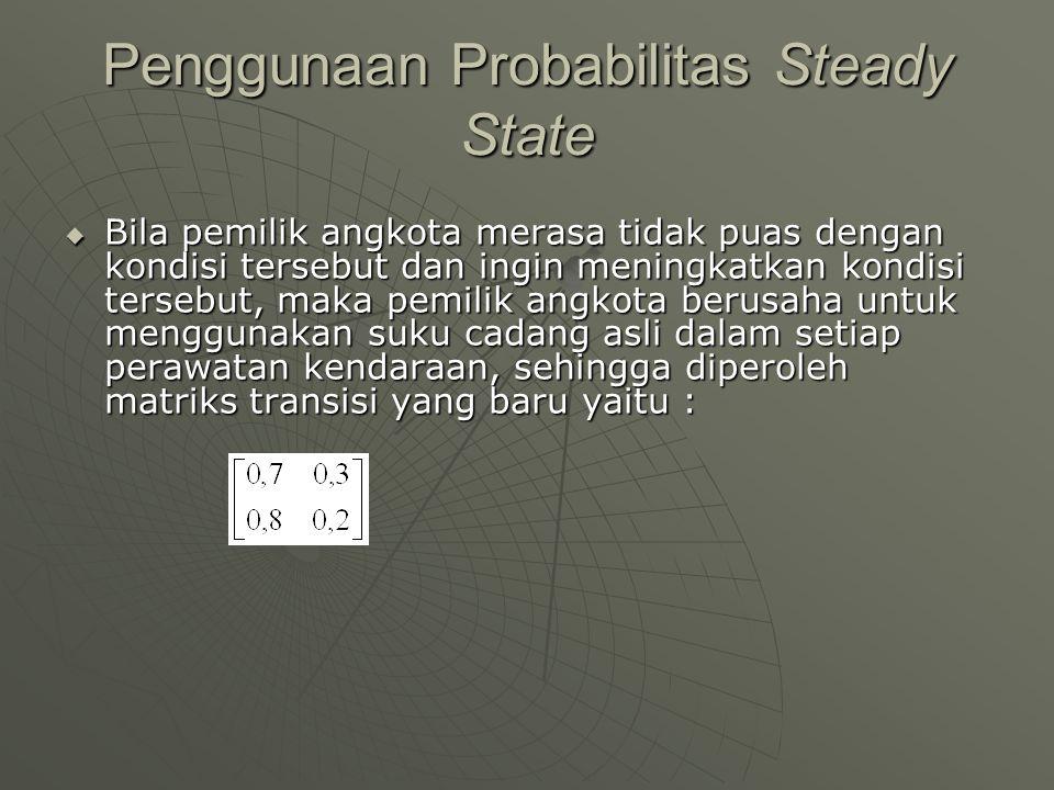 Penggunaan Probabilitas Steady State  Bila pemilik angkota merasa tidak puas dengan kondisi tersebut dan ingin meningkatkan kondisi tersebut, maka pe