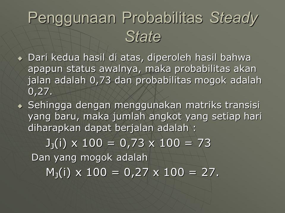 Penggunaan Probabilitas Steady State  Dari kedua hasil di atas, diperoleh hasil bahwa apapun status awalnya, maka probabilitas akan jalan adalah 0,73
