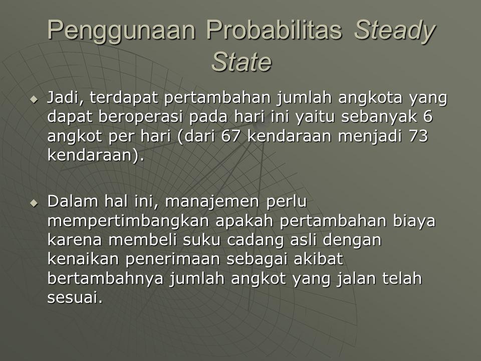 Penggunaan Probabilitas Steady State  Jadi, terdapat pertambahan jumlah angkota yang dapat beroperasi pada hari ini yaitu sebanyak 6 angkot per hari