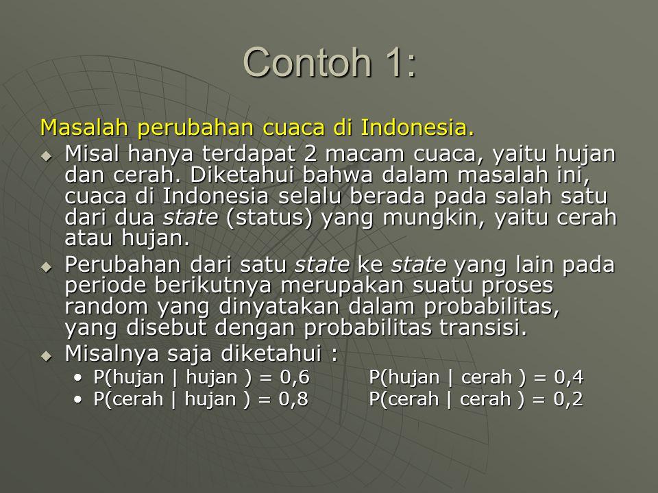 Contoh 1: Masalah perubahan cuaca di Indonesia.  Misal hanya terdapat 2 macam cuaca, yaitu hujan dan cerah. Diketahui bahwa dalam masalah ini, cuaca