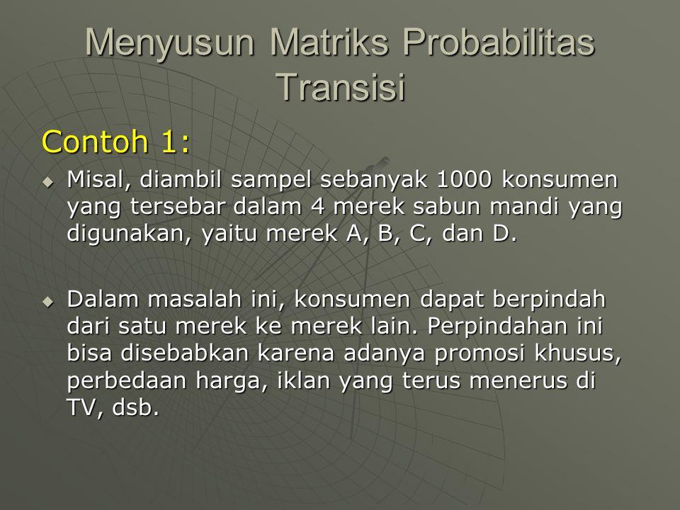 Menyusun Matriks Probabilitas Transisi Contoh 1:  Misal, diambil sampel sebanyak 1000 konsumen yang tersebar dalam 4 merek sabun mandi yang digunakan