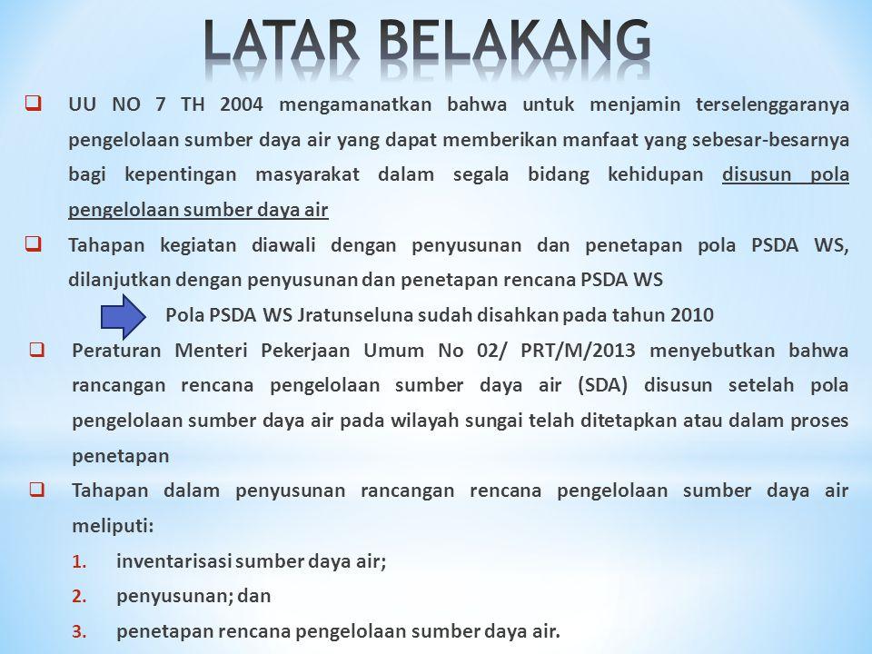  UU NO 7 TH 2004 mengamanatkan bahwa untuk menjamin terselenggaranya pengelolaan sumber daya air yang dapat memberikan manfaat yang sebesar-besarnya bagi kepentingan masyarakat dalam segala bidang kehidupan disusun pola pengelolaan sumber daya air  Tahapan kegiatan diawali dengan penyusunan dan penetapan pola PSDA WS, dilanjutkan dengan penyusunan dan penetapan rencana PSDA WS Pola PSDA WS Jratunseluna sudah disahkan pada tahun 2010  Peraturan Menteri Pekerjaan Umum No 02/ PRT/M/2013 menyebutkan bahwa rancangan rencana pengelolaan sumber daya air (SDA) disusun setelah pola pengelolaan sumber daya air pada wilayah sungai telah ditetapkan atau dalam proses penetapan  Tahapan dalam penyusunan rancangan rencana pengelolaan sumber daya air meliputi: 1.