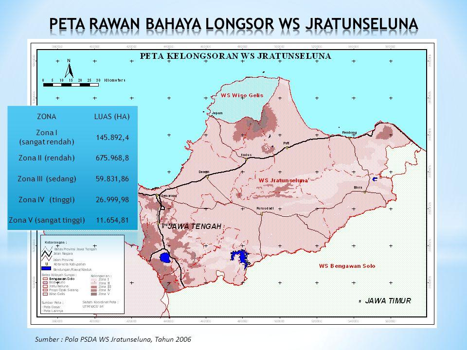 Sumber : Pola PSDA WS Jratunseluna, Tahun 2006 ZONALUAS (HA) Zona I (sangat rendah) 145.892,4 Zona II (rendah)675.968,8 Zona III (sedang)59.831,86 Zona IV (tinggi)26.999,98 Zona V (sangat tinggi)11.654,81