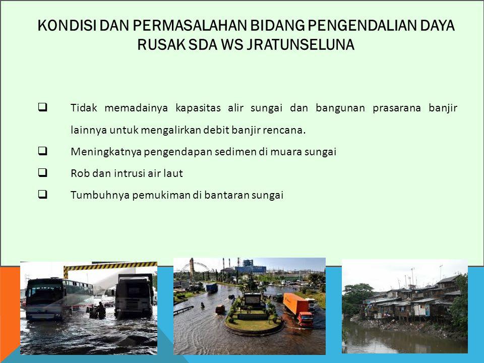 KONDISI DAN PERMASALAHAN BIDANG PENGENDALIAN DAYA RUSAK SDA WS JRATUNSELUNA  Tidak memadainya kapasitas alir sungai dan bangunan prasarana banjir lainnya untuk mengalirkan debit banjir rencana.