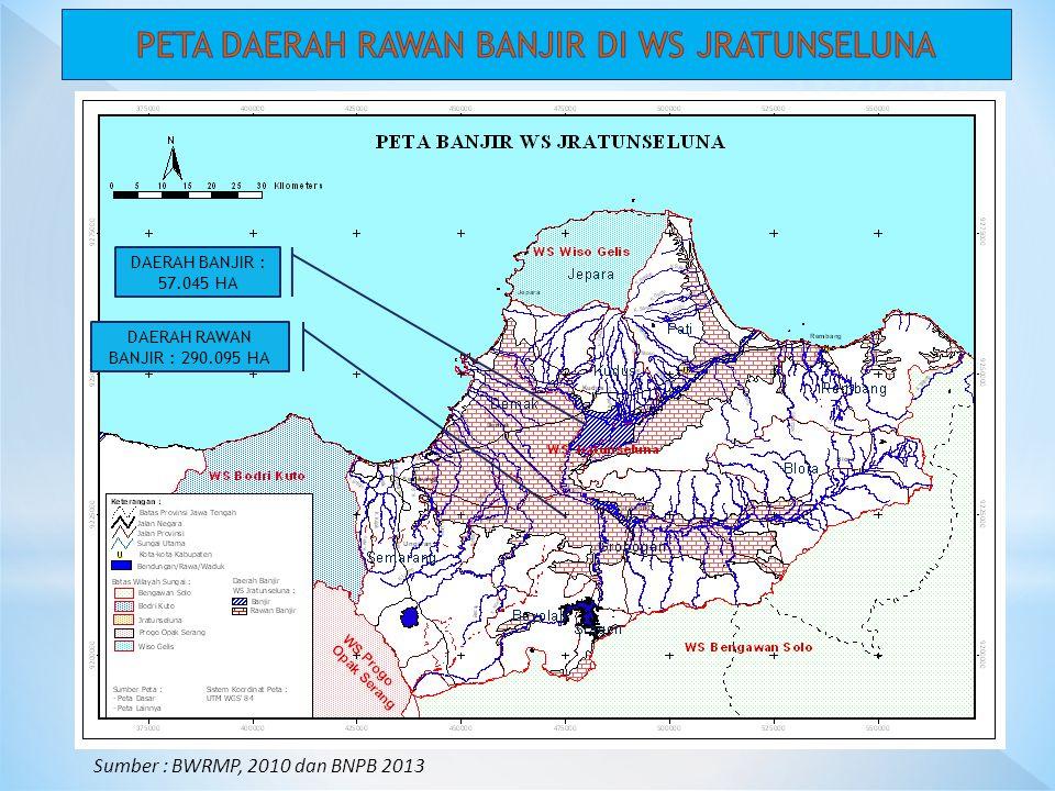 Sumber : BWRMP, 2010 dan BNPB 2013 DAERAH BANJIR : 57.045 HA DAERAH RAWAN BANJIR : 290.095 HA