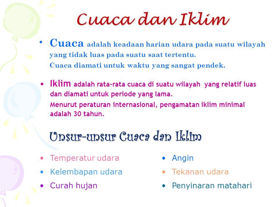 Cuaca dan Iklim •C•Cuaca adalah keadaan harian udara pada suatu wilayah yang tidak luas pada suatu saat tertentu. Cuaca diamati untuk waktu yang sanga