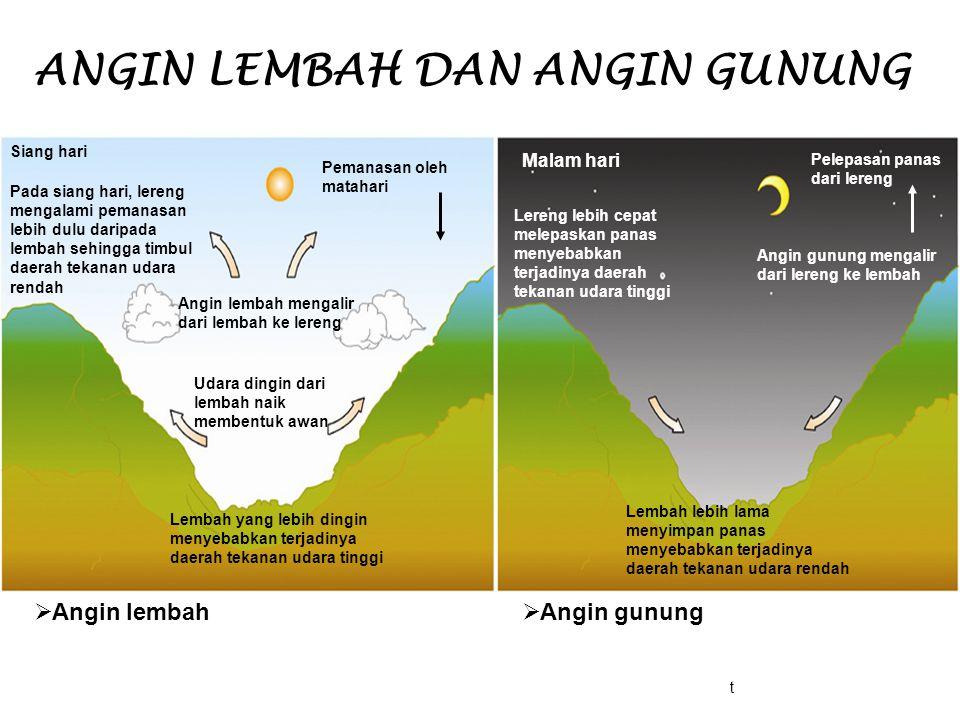 ANGIN LEMBAH DAN ANGIN GUNUNG Malam hari Lembah lebih lama menyimpan panas menyebabkan terjadinya daerah tekanan udara rendah Angin gunung mengalir da