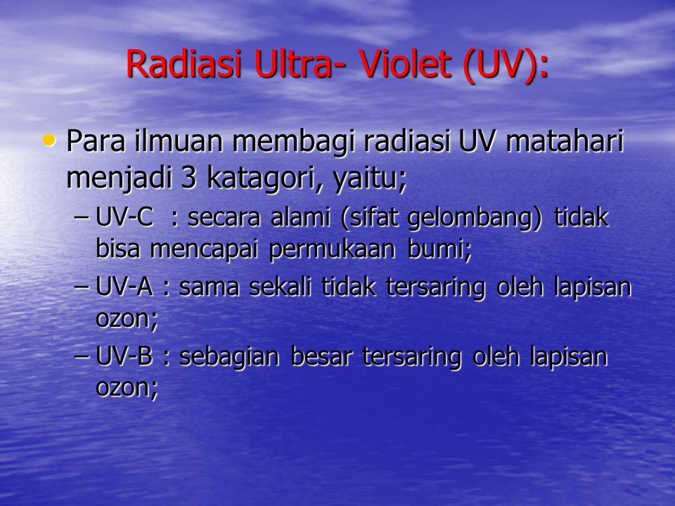 Radiasi Ultra- Violet (UV): • Para ilmuan membagi radiasi UV matahari menjadi 3 katagori, yaitu; –UV-C : secara alami (sifat gelombang) tidak bisa men