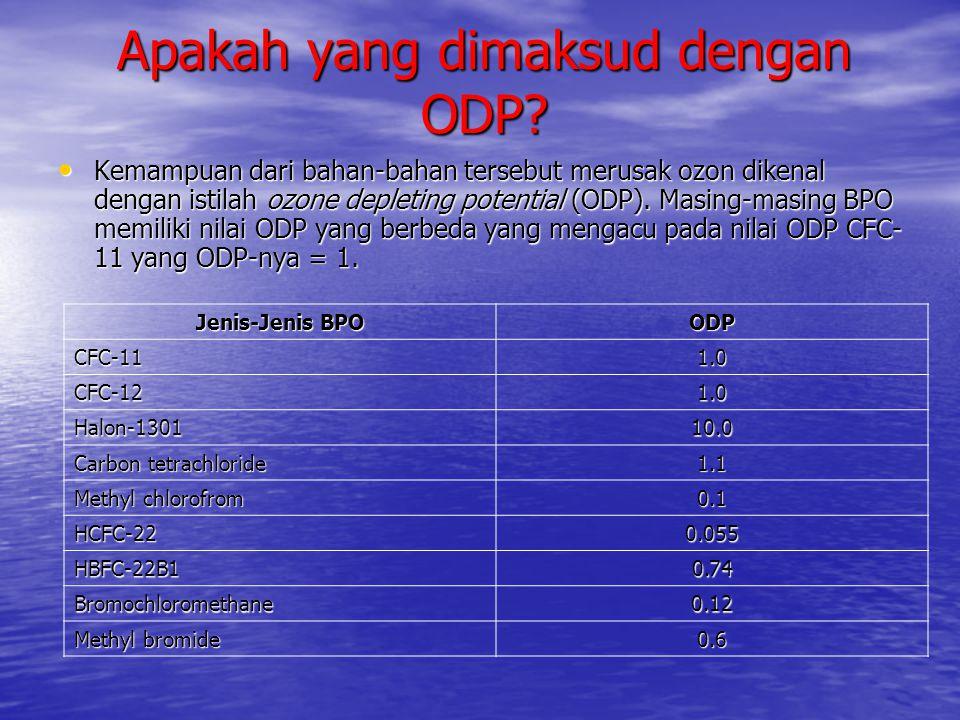 Apakah yang dimaksud dengan ODP? • Kemampuan dari bahan-bahan tersebut merusak ozon dikenal dengan istilah ozone depleting potential (ODP). Masing-mas
