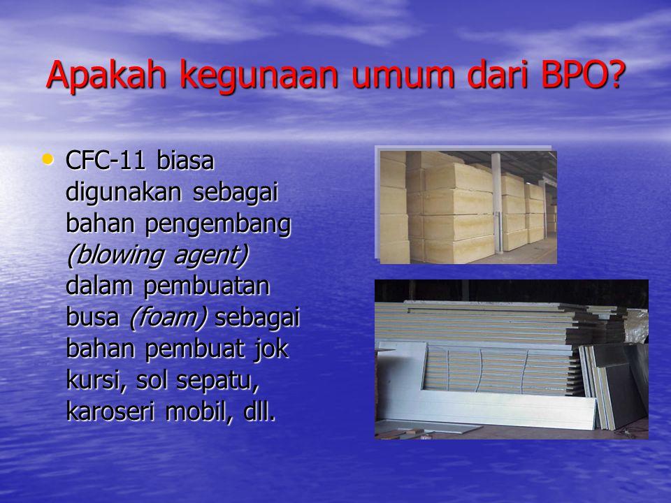 Apakah kegunaan umum dari BPO? • CFC-11 biasa digunakan sebagai bahan pengembang (blowing agent) dalam pembuatan busa (foam) sebagai bahan pembuat jok