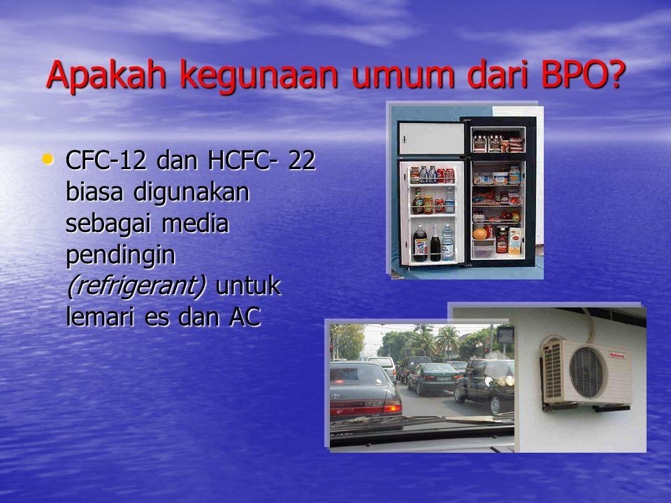 Apakah kegunaan umum dari BPO? • CFC-12 dan HCFC- 22 biasa digunakan sebagai media pendingin (refrigerant) untuk lemari es dan AC