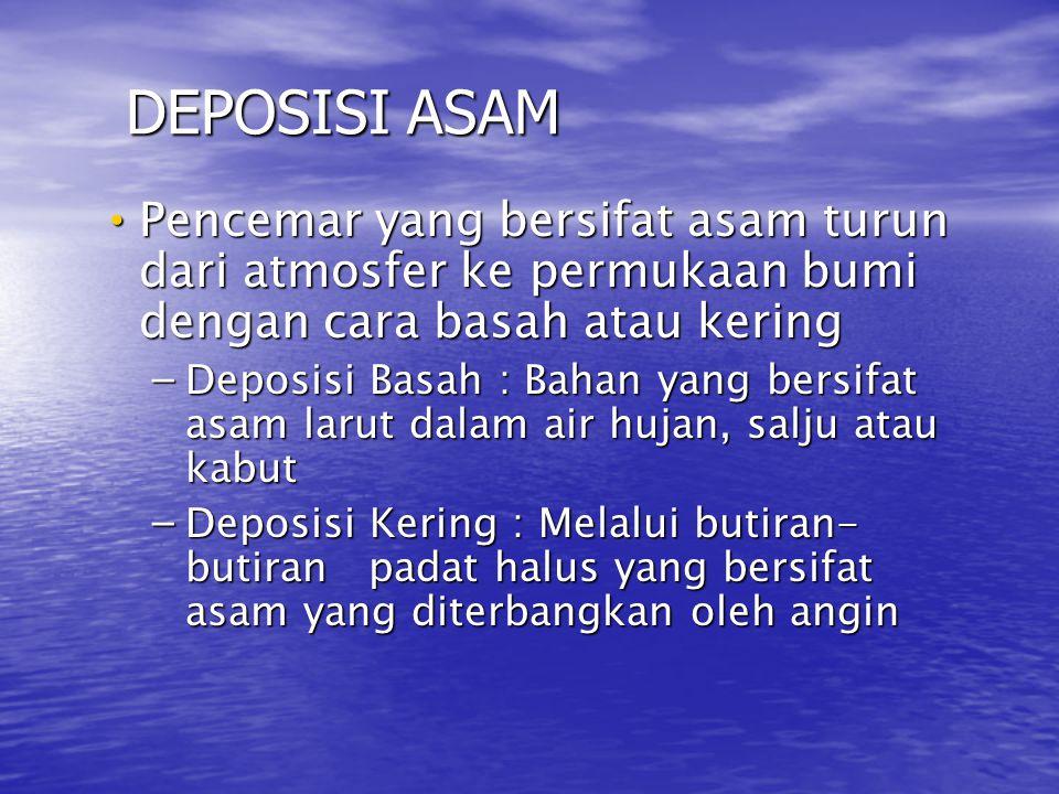 DEPOSISI ASAM • Pencemar yang bersifat asam turun dari atmosfer ke permukaan bumi dengan cara basah atau kering – Deposisi Basah : Bahan yang bersifat