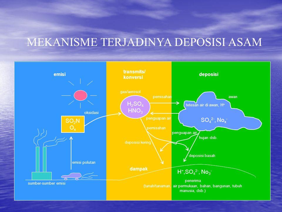 SO 2 N O x H 2 SO 4 HNO 3 SO 4 2-, No x - H +,SO 4 2-, No 3 - emisi transmits/ konversi deposisi dampak awan hujan dsb. deposisi basah gas/aerosol pem