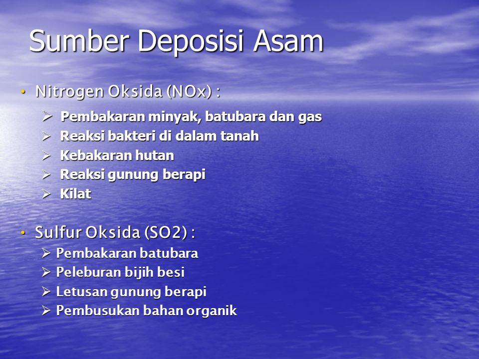 • Nitrogen Oksida (NOx) :  Pembakaran minyak, batubara dan gas  Reaksi bakteri di dalam tanah  Kebakaran hutan  Reaksi gunung berapi  Kilat • Sul