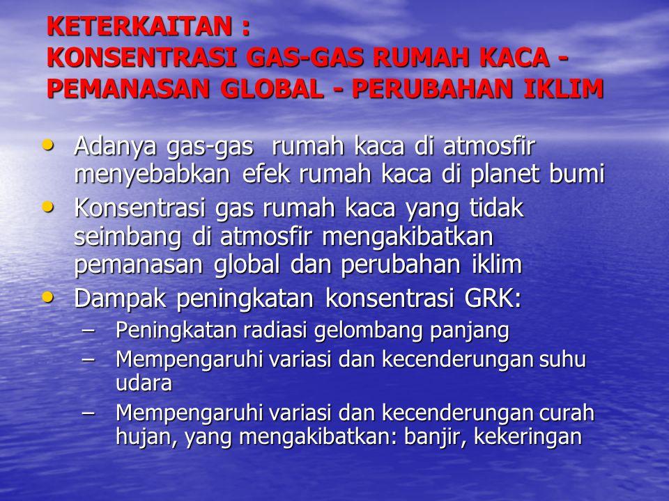 • Adanya gas-gas rumah kaca di atmosfir menyebabkan efek rumah kaca di planet bumi • Konsentrasi gas rumah kaca yang tidak seimbang di atmosfir mengak