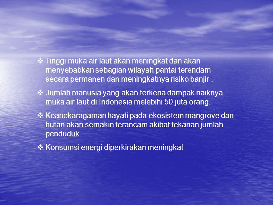  Tinggi muka air laut akan meningkat dan akan menyebabkan sebagian wilayah pantai terendam secara permanen dan meningkatnya risiko banjir.  Jumlah m