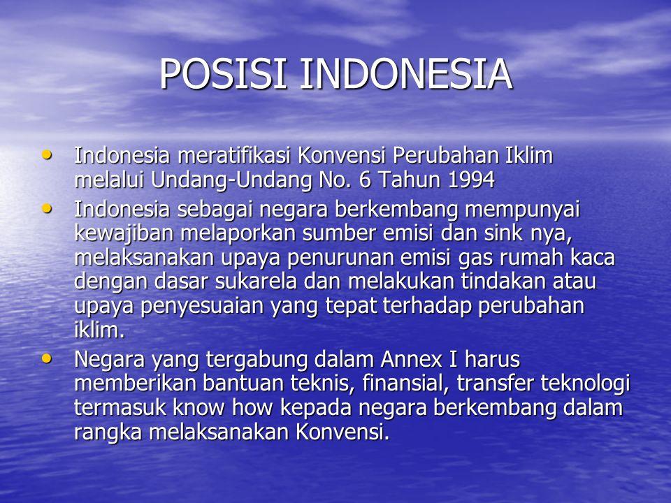 POSISI INDONESIA • Indonesia meratifikasi Konvensi Perubahan Iklim melalui Undang-Undang No. 6 Tahun 1994 • Indonesia sebagai negara berkembang mempun