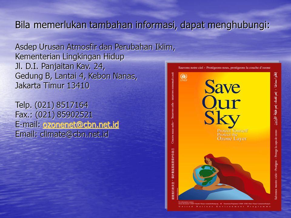 Bila memerlukan tambahan informasi, dapat menghubungi: Asdep Urusan Atmosfir dan Perubahan Iklim, Kementerian Lingkingan Hidup Jl. D.I. Panjaitan Kav.