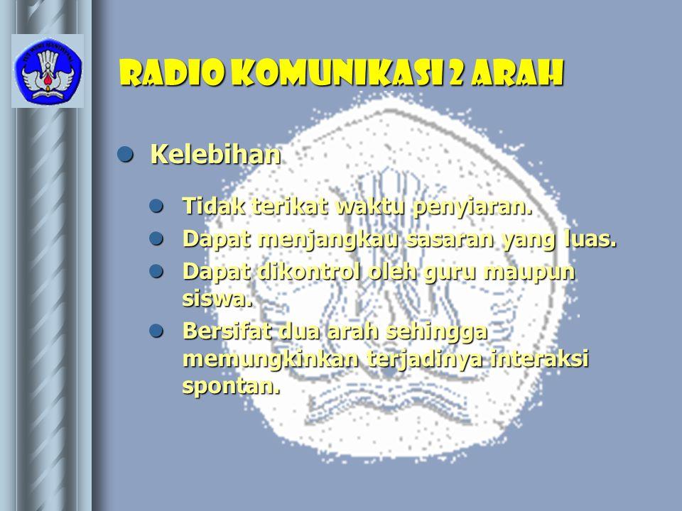 Radio Komunikasi 2 Arah  Kelebihan  Tidak terikat waktu penyiaran.  Dapat menjangkau sasaran yang luas.  Dapat dikontrol oleh guru maupun siswa. 