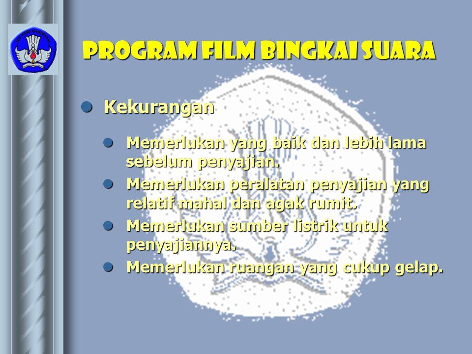 Program film bingkai suara  Kekurangan  Memerlukan yang baik dan lebih lama sebelum penyajian.  Memerlukan peralatan penyajian yang relatif mahal d