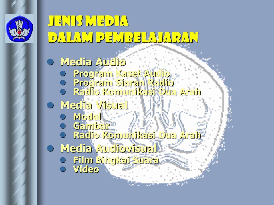 Jenis media dalam pembelajaran  Media Audio  Media Visual  Media Audiovisual  Program Kaset Audio  Program Siaran Radio  Radio Komunikasi Dua Ar