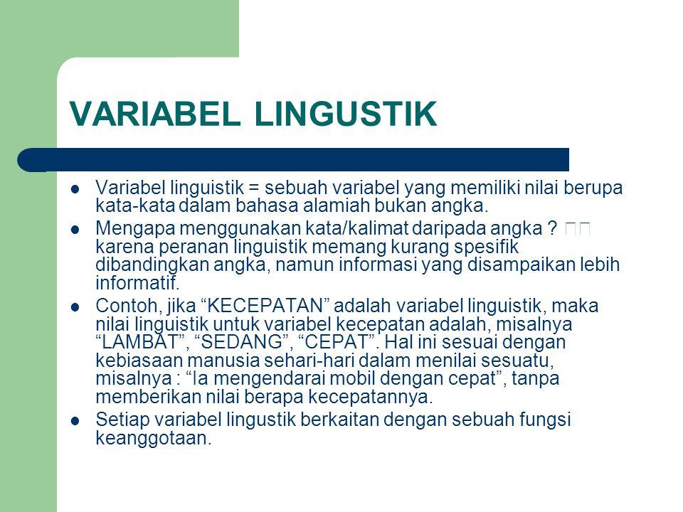 VARIABEL LINGUSTIK  Variabel linguistik = sebuah variabel yang memiliki nilai berupa kata-kata dalam bahasa alamiah bukan angka.  Mengapa menggunaka