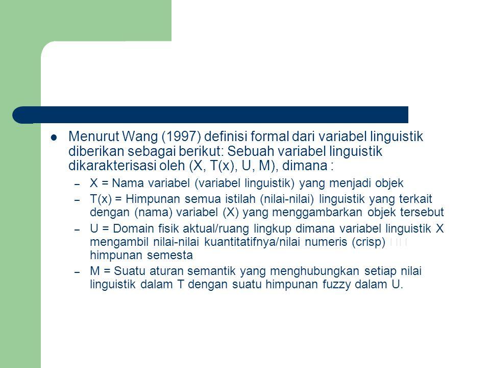  Menurut Wang (1997) definisi formal dari variabel linguistik diberikan sebagai berikut: Sebuah variabel linguistik dikarakterisasi oleh (X, T(x), U,
