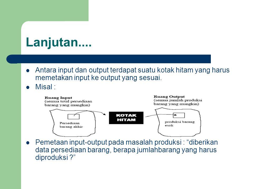 Lanjutan....  Antara input dan output terdapat suatu kotak hitam yang harus memetakan input ke output yang sesuai.  Misal :  Pemetaan input-output