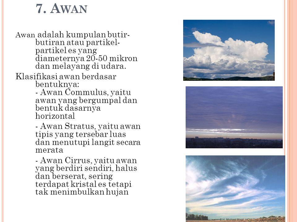 7. A WAN Awan adalah kumpulan butir- butiran atau partikel- partikel es yang diameternya 20-50 mikron dan melayang di udara. Klasifikasi awan berdasar