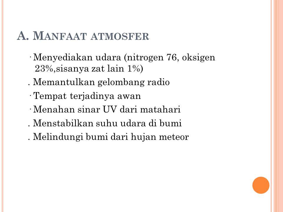 A. M ANFAAT ATMOSFER · Menyediakan udara (nitrogen 76, oksigen 23%,sisanya zat lain 1%). Memantulkan gelombang radio · Tempat terjadinya awan · Menaha