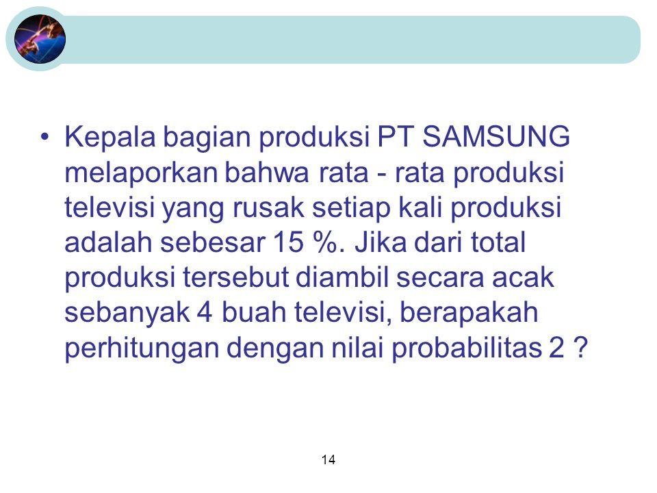 14 •Kepala bagian produksi PT SAMSUNG melaporkan bahwa rata - rata produksi televisi yang rusak setiap kali produksi adalah sebesar 15 %. Jika dari to