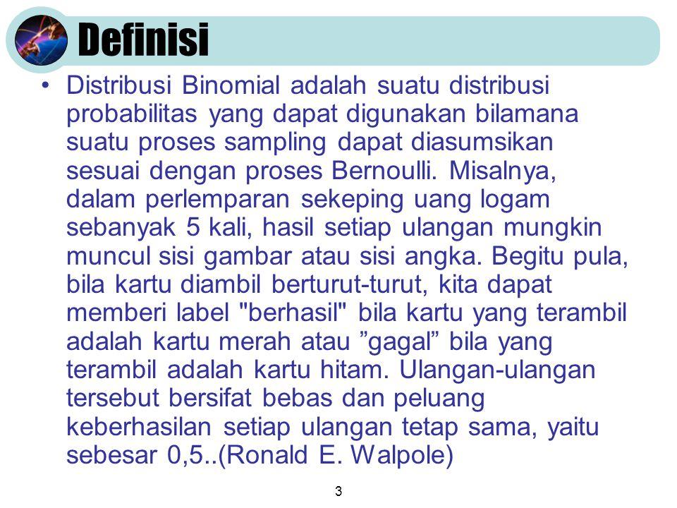 3 Definisi •Distribusi Binomial adalah suatu distribusi probabilitas yang dapat digunakan bilamana suatu proses sampling dapat diasumsikan sesuai deng