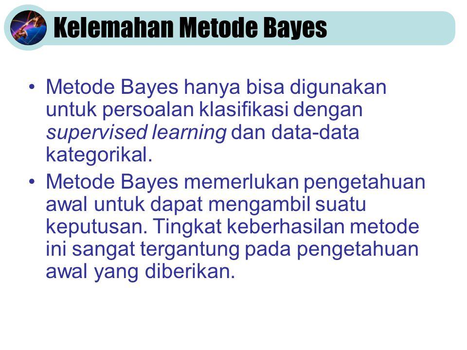 Kelemahan Metode Bayes •Metode Bayes hanya bisa digunakan untuk persoalan klasifikasi dengan supervised learning dan data-data kategorikal. •Metode Ba