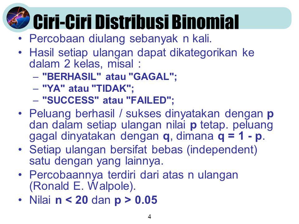 4 Ciri-Ciri Distribusi Binomial •Percobaan diulang sebanyak n kali. •Hasil setiap ulangan dapat dikategorikan ke dalam 2 kelas, misal : –