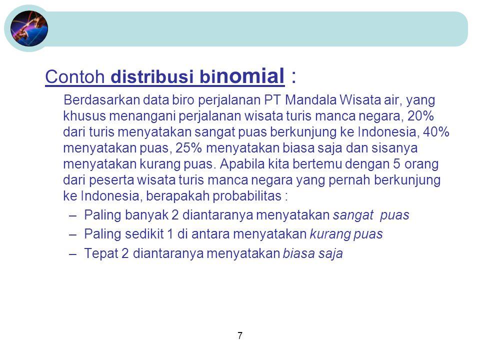 7 Contoh distribusi bi nomial : Berdasarkan data biro perjalanan PT Mandala Wisata air, yang khusus menangani perjalanan wisata turis manca negara, 20