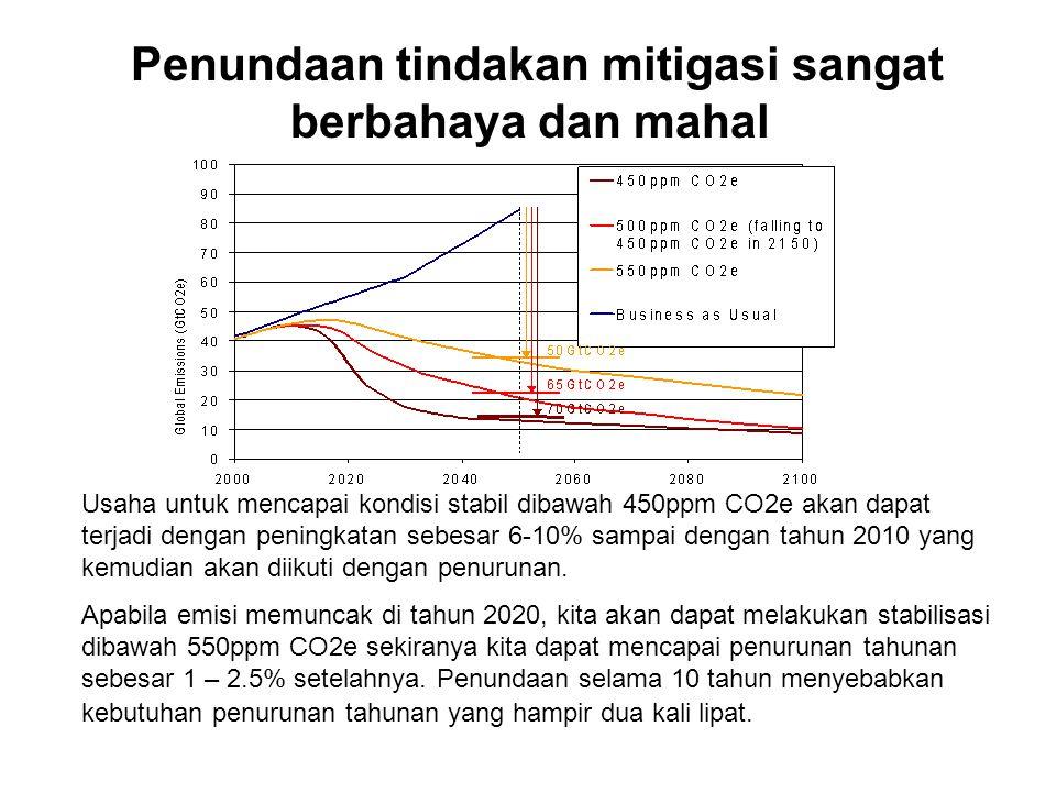 Penundaan tindakan mitigasi sangat berbahaya dan mahal Usaha untuk mencapai kondisi stabil dibawah 450ppm CO2e akan dapat terjadi dengan peningkatan sebesar 6-10% sampai dengan tahun 2010 yang kemudian akan diikuti dengan penurunan.