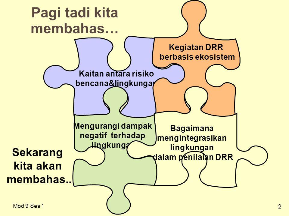 2 Pagi tadi kita membahas… Kaitan antara risiko bencana&lingkungan Kegiatan DRR berbasis ekosistem Mod 9 Ses 1 Mengurangi dampak negatif terhadap ling