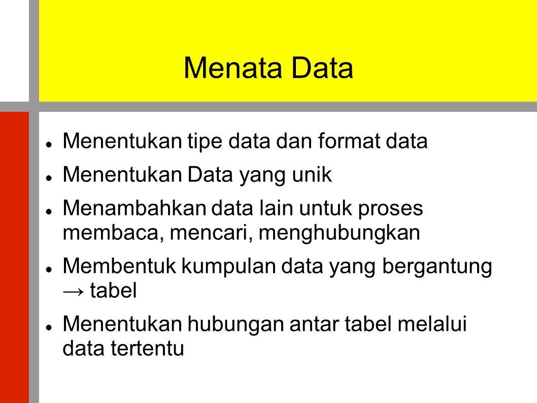 Menata Data  Menentukan tipe data dan format data  Menentukan Data yang unik  Menambahkan data lain untuk proses membaca, mencari, menghubungkan  Membentuk kumpulan data yang bergantung → tabel  Menentukan hubungan antar tabel melalui data tertentu
