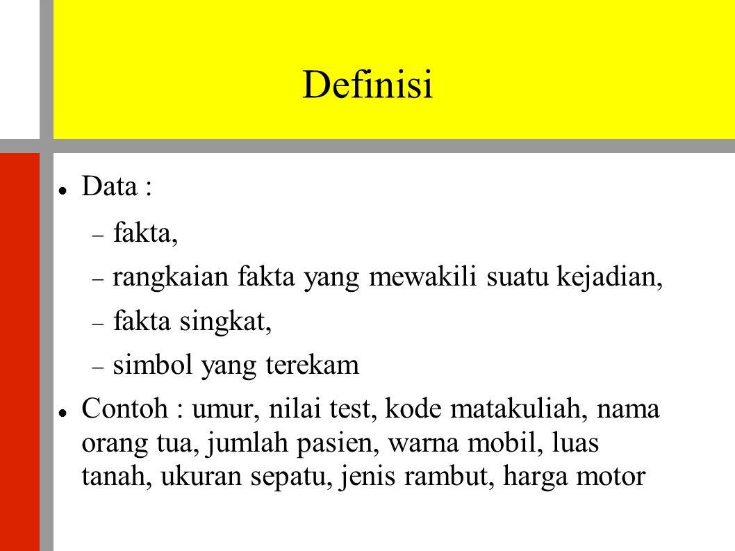 Definisi  Data :  fakta,  rangkaian fakta yang mewakili suatu kejadian,  fakta singkat,  simbol yang terekam  Contoh : umur, nilai test, kode matakuliah, nama orang tua, jumlah pasien, warna mobil, luas tanah, ukuran sepatu, jenis rambut, harga motor