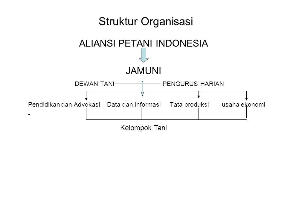 Struktur Organisasi ALIANSI PETANI INDONESIA JAMUNI DEWAN TANI PENGURUS HARIAN Pendidikan dan Advokasi Data dan Informasi Tata produksi usaha ekonomi