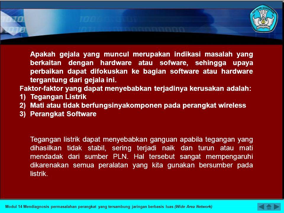 PETA KEDUDUKAN KOMPETENSI Modul 14 Mendiagnosis permasalahan perangkat yang tersambung jaringan berbasis luas (Wide Area Network) 23 Mendiagnosis perm