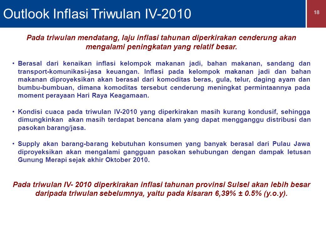 18 Pada triwulan mendatang, laju inflasi tahunan diperkirakan cenderung akan mengalami peningkatan yang relatif besar.