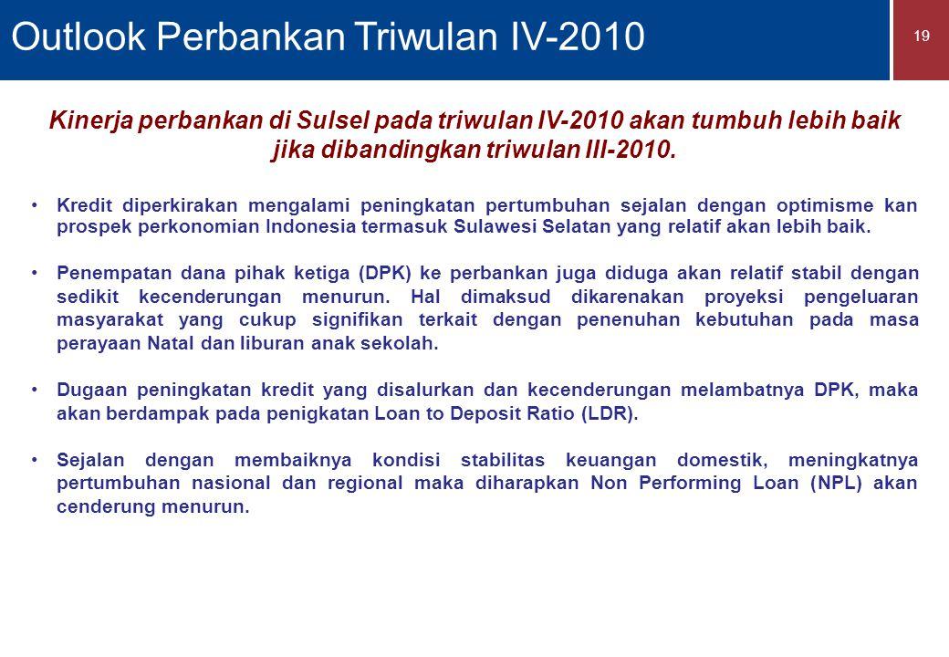 19 Kinerja perbankan di Sulsel pada triwulan IV-2010 akan tumbuh lebih baik jika dibandingkan triwulan III-2010.