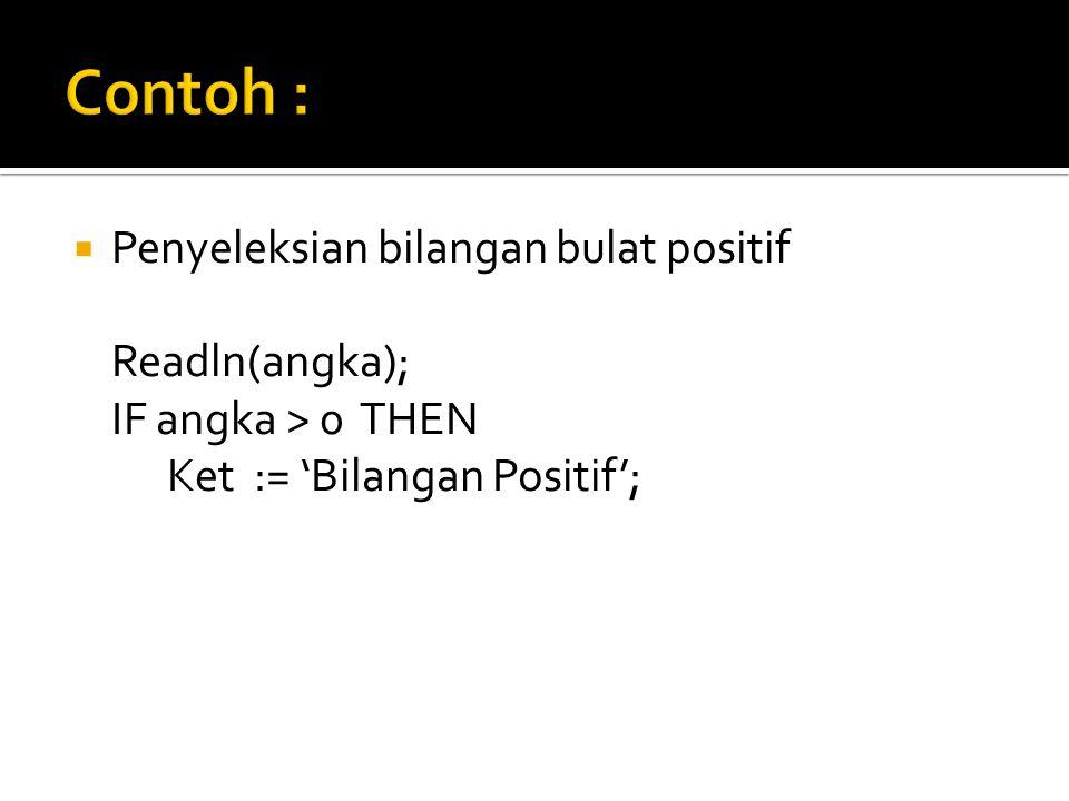 Penyeleksian bilangan bulat positif Readln(angka); IF angka > 0 THEN Ket := 'Bilangan Positif';