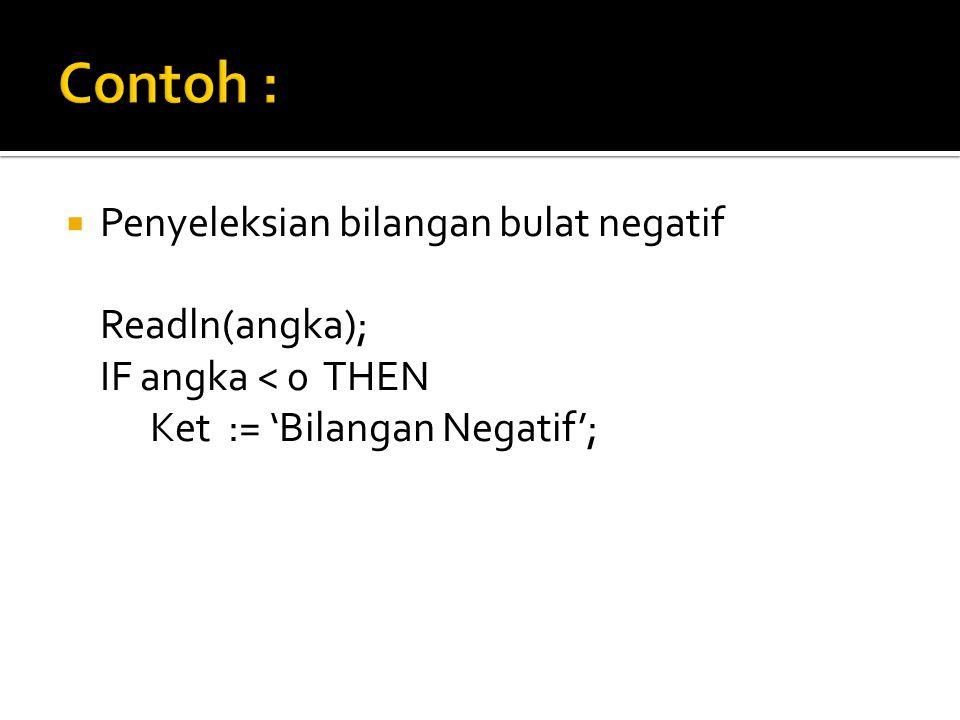  Penyeleksian bilangan bulat negatif Readln(angka); IF angka < 0 THEN Ket := 'Bilangan Negatif';