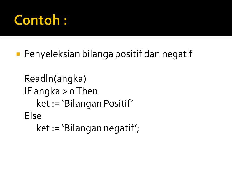  Penyeleksian bilanga positif dan negatif Readln(angka) IF angka > 0 Then ket := 'Bilangan Positif' Else ket := 'Bilangan negatif';